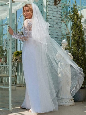 White Simple Wedding Dress Lace V-Neck Long Sleeves Lace Chiffon Pleated A-Line Long Bridal Gowns_4