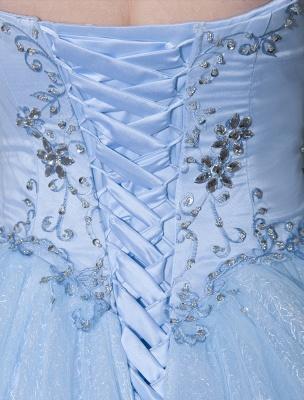 Robe de mariée bleue robe de bal en dentelle longueur au sol chérie sans bretelles perles princesse robe de mariée exclusive_7