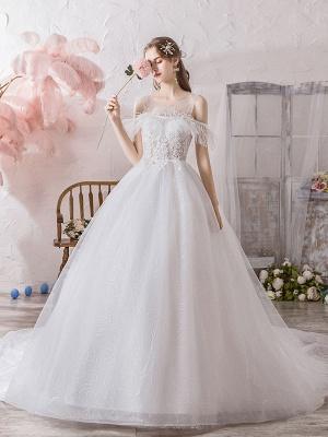 Wedding Dress Princess Silhouette Jewel Neck Short Sleeves Natural Waist Cathedral Train Bridal Dresses_2