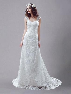 Weißes Brautkleid Queen Anne Mermaid Backless Lace Brautkleid_1