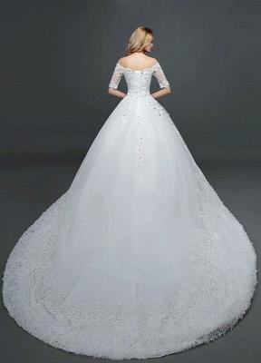Vestido de novia de princesa fuera del hombro Vestido de novia con cuentas de encaje Vestido de novia de media manga blanco Vestido de novia con tren de la catedral_4
