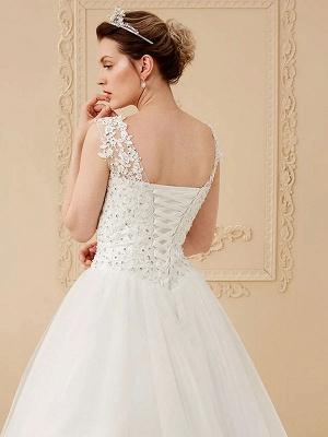 White Jewel Neck Sleeveless Soft Tulle Lace Up Floor Length Bride Dresses_4