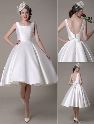Ivory Wedding Dress Scoop Backless Knee Length Satin Wedding Gown Exclusive_1