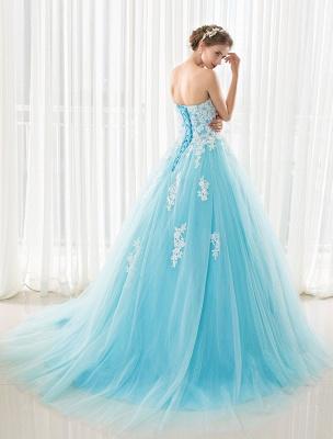 Blaues Hochzeitskleid Spitze Applique Tüll Hof-Schleppe Trägerlos Schatz Lace-Up A-Linie Brautkleid_3