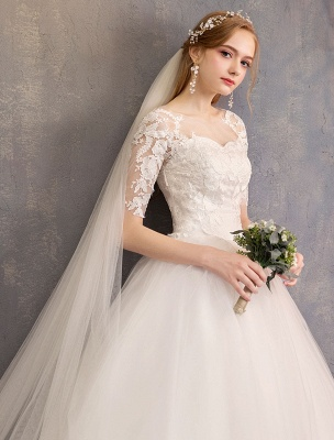 Vestidos de novia de encaje Marfil Escote de ilusión La mitad de manga Hasta el suelo Vestido de novia de princesa_7