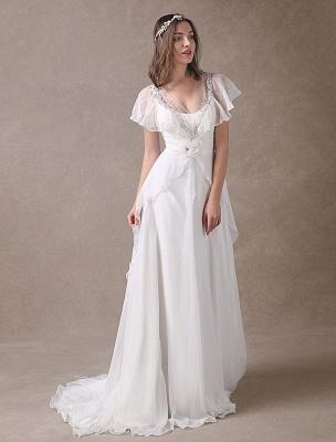 Glamorous Court Schleppe Elfenbein Brautkleid mit Perlenstickerei V-Ausschnitt Exklusiv_4