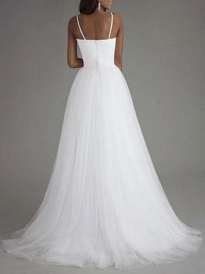 Simple Wedding Dress Tulle Sweetheart Neck Sleeveless Sash A Line Bridal Dresses_3