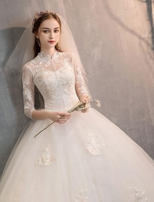 Tüll Brautkleider Elfenbein Illusion Ausschnitt Halbarm Bodenlangen Prinzessin Brautkleid_5