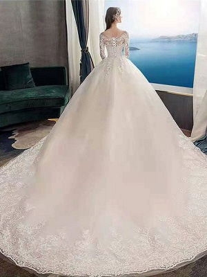 New Vintage Wedding Dresses Eric White Jewel Neck Long Sleeves Natural Waist Satin Fabric Cathedral Train Applique Traditional Dresses For Bride_2