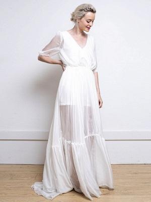 Weißes einfaches Hochzeitskleid A-Linie V-Ausschnitt Halbarm Rückenfrei Tüll Satin Stoff Lange Brautkleider_1