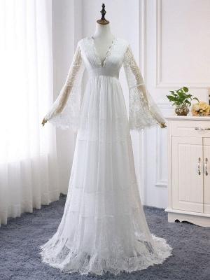 Boho Wedding Dresses 2021 A Line Deep V Neck Multilayer Lace Chiffon Beach Party Dress Bridal Gowns_3