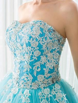 Blaues Hochzeitskleid Spitze Applique Tüll Hof-Schleppe Trägerlos Schatz Lace-Up A-Linie Brautkleid_10