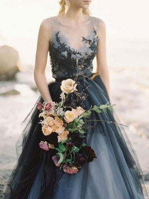 Black Gothic Wedding Dresses A-Line V-Neck Sleeveless Ball Gown Tulle Lace Bridal Gown_8
