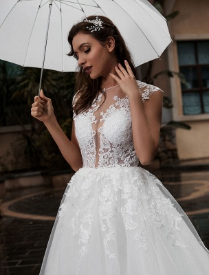 Preises Brautkleid Spitze Mieder Tüll Satin Stoff Sweep Zug Applikation Brautkleid Exklusiv Wedding_6