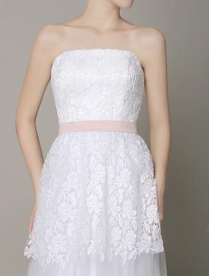 Elfenbein-Hochzeit-Kleid-Trägerlos-Rückenlos-Schärpe-Tüll-Brautkleid-ExklusivEx_7
