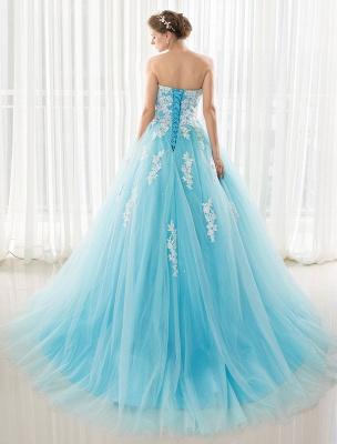 Blaues Hochzeitskleid Spitze Applique Tüll Hof-Schleppe Trägerlos Schatz Lace-Up A-Linie Brautkleid_8
