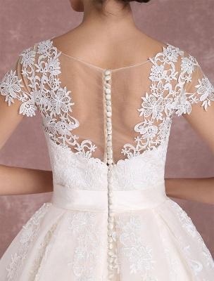 Vintage Wedding Dresses Short Lace Applique Bridal Gown Illusion Bow Sash Bridal Dress Exclusive_10