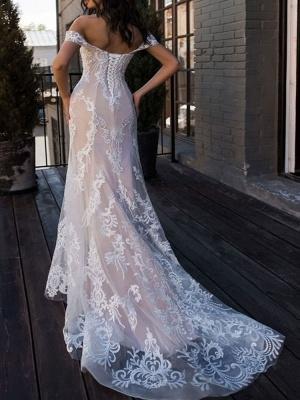 Vestidos de novia boho 2021 Sirena fuera del hombro Vestido de novia de manga corta de encaje personalizado hasta el suelo con tren de barrido_2
