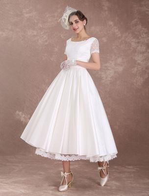 Vintage Wedding Dress Short Sleeve 1950'S Bridal Dress Backless Polka Dot Lace Trim Ivory Wedding Reception Dress Exclusive_2