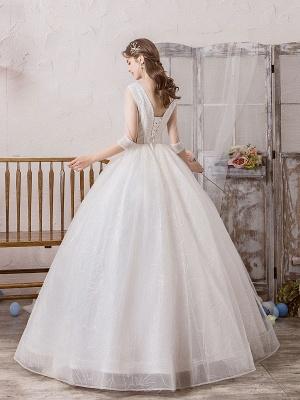 Brautkleid Prinzessin Silhouette Bodenlangen V-Ausschnitt Ärmellos Natürliche Taille Perlen Lycra Spandex Brautkleider_4