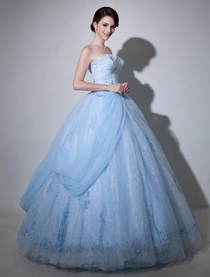 Robe de mariée bleue robe de bal en dentelle longueur au sol chérie sans bretelles perles princesse robe de mariée exclusive_3