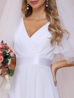 Simple Wedding Dress Chiffon V-Neck Short Sleeves Backless A-Line Long Bridal Gowns_8