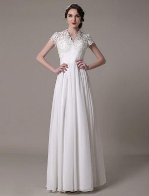 Sheath Wedding Dress V-Neck Lace Chiffon Pleated Floor Length Bridal Dress Exclusive_3