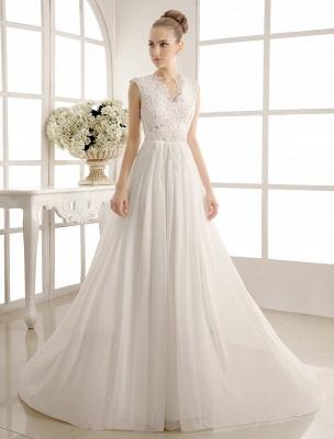 Wedding Dresses Chiffon V Neck Beach Bridal Dress Pearls Beaded Lace Ivory Bridal Gown_1