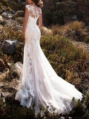 Brautkleid 2021 V-Ausschnitt Meerjungfrau ärmellose Spitzenverzierung Klassische Brautkleider mit Zug_2