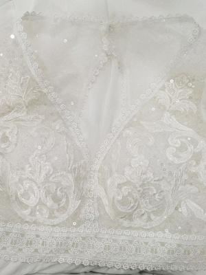Elfenbein Einfaches Brautkleid mit Zug A-Linie V-Ausschnitt mit langen Ärmeln Spitze Brautkleider_4