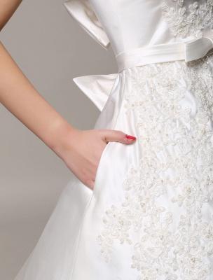 Vestido de novia de encaje con espalda descubierta y cuello barco con bolsillos de inserción Exclusivo_7