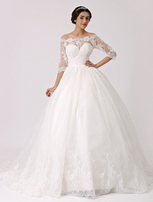 Off The Shoulder Princess Lace Wedding Dress With Illusion Neckline Exclusive_2