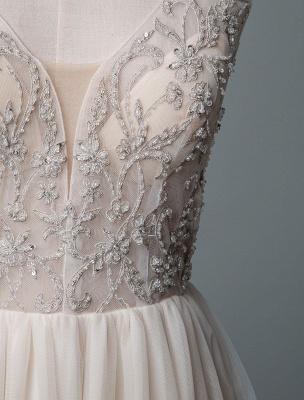 Einfaches Hochzeitskleid A-Linie V-Ausschnitt ärmellose Applikationen Perlen bodenlangen Brautkleider_7