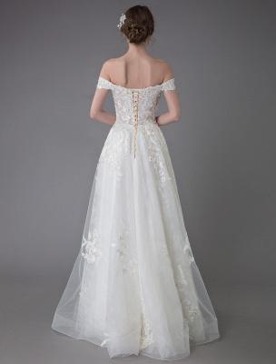 Robes de mariée d'été hors de l'épaule dentelle champagne appliques perles maxi plage robes de mariée_8