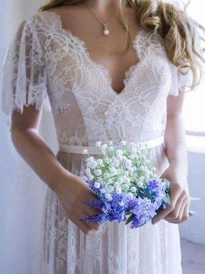 Einfaches Hochzeitskleid 2021 V-Ausschnitt A-Linie Kurzarm Tiefes V Backless Lace Brautkleider_2