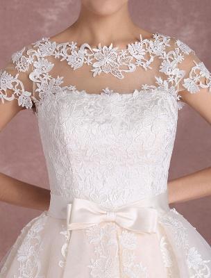 Vintage Wedding Dresses Short Lace Applique Bridal Gown Illusion Bow Sash Bridal Dress Exclusive_9