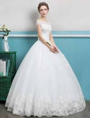 Prinzessin Brautkleider Ballkleider Spitze Perlen Elfenbein bodenlangen Brautkleid_3