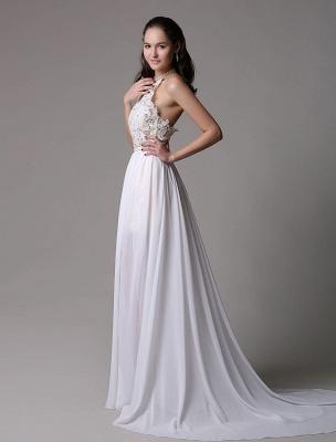 White Prom Dresses 2021 Long Ivory Halter Backless Evening Dress Lace Applique Beading Chiffon Split Party Dress_7
