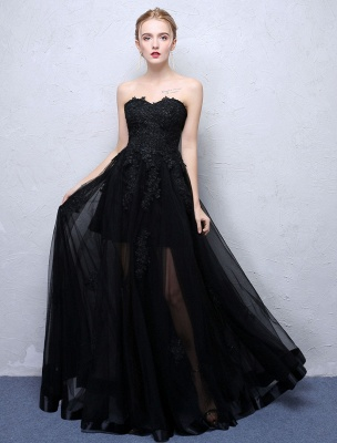 Black Prom Dresses Strapless Long Party Dress Lace Applique Sweetheart Illusion Formal Evening Dress_2