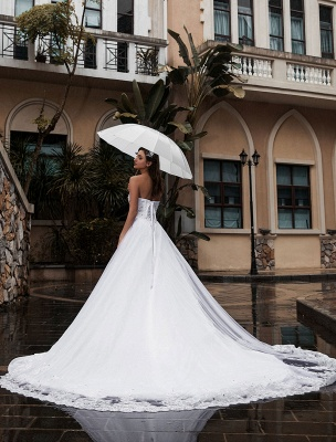Customize Wedding Dress A-Line Sweetheart Neck Sleeveless Natural Waist With Train Bridal Dresses_3