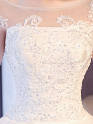 Princess Wedding Dresses Lace Beaded Ball Gowns Sleeveless Floor Length Bridal Dress_7