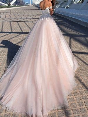 Wedding Dress Princess Silhouette Court Train Off The Shoulder Sleeveless Natural Waist Lace Tulle Bridal Gowns_2