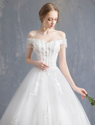 Princess Wedding Dresses Ball Gown Lace Beaded Chains Off The Shoulder Bridal Dress_8