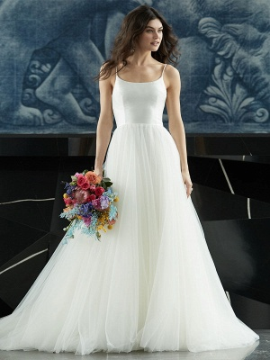 White Wedding Dress Designed Neckline Sleeveless Backless Zipper Tiered With Train Tulle Long Bridal Gowns_6