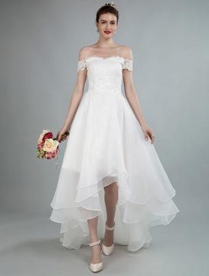 Einfaches Brautkleid A Line Off The Shoulder Ärmellose Spitze Brautkleider Mit Zug Exklusiv_1