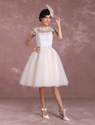 Vintage Wedding Dresses Short Lace Applique Bridal Gown Illusion Bow Sash Bridal Dress Exclusive_3