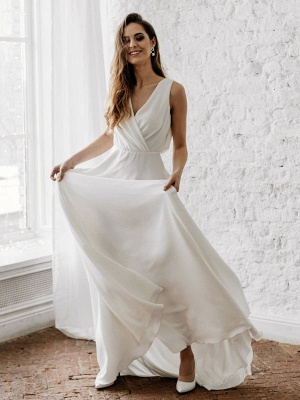 Vestido de novia blanco simple con tren Escote en V Sin mangas Sin espalda Encaje Una línea de vestidos de novia de gasa_2