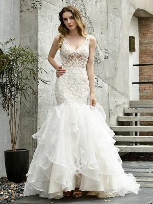 Wedding Bridal Gowns Mermaid Sleeveless V Neck Lace Bridal Gowns With Train_4