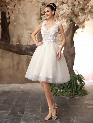 Ivory Backless Lace Applique Tulle Sequins Wedding Dress Exclusive_3