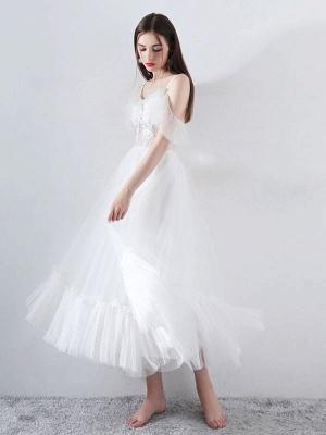Short Wedding Dress 2021 A Line V Neck Short Sleeves Tea Length Bridal Dresses_1